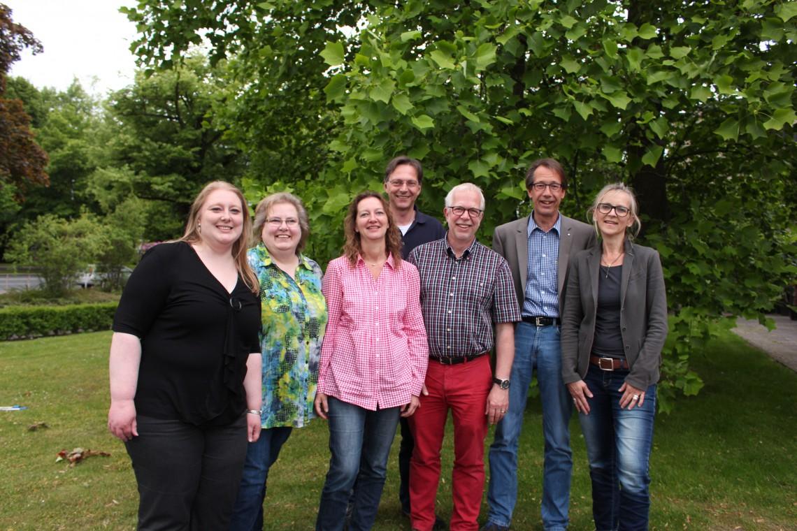 Vorstand_Simone Werner, Bettina Harre, Nicola Ebbecke, Hartmut Ebbecke, Dr. Sebastian Pulst, Thomas Kaphammel, Kerstin Schirbel